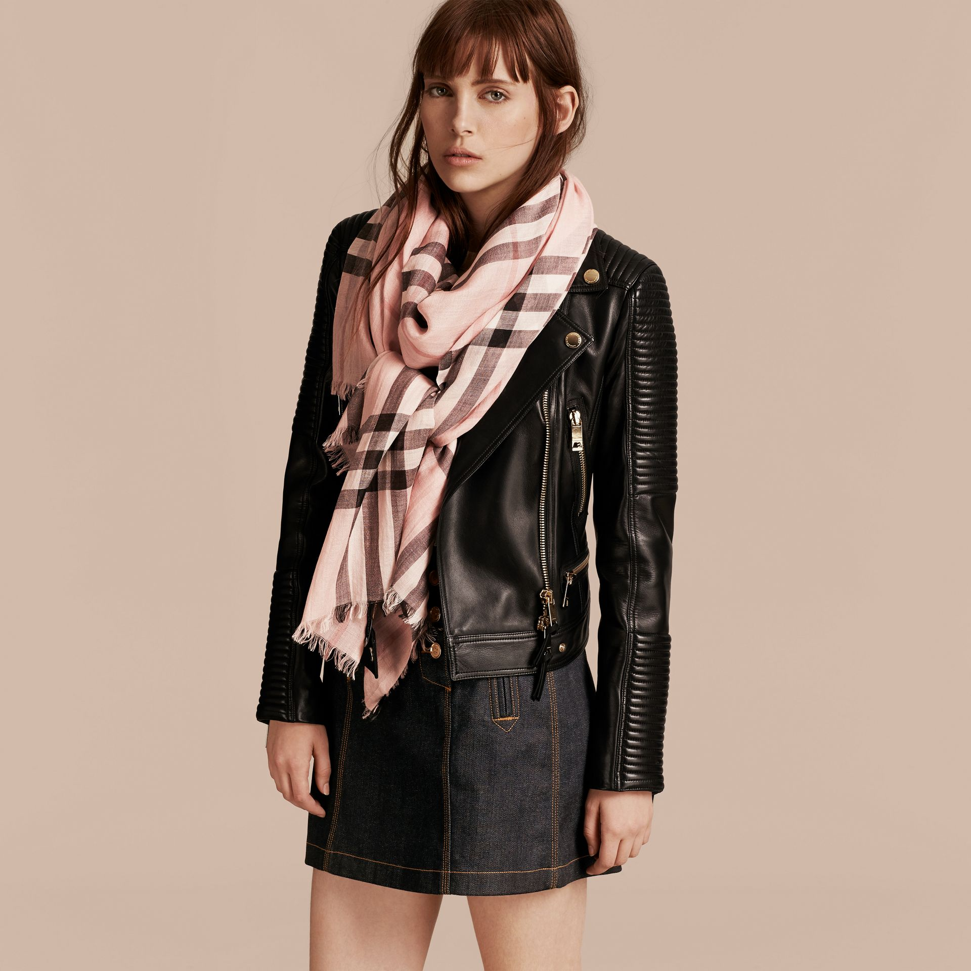 Lightweight Check Wool and Silk Scarf in Ash Rose - gallery image 3