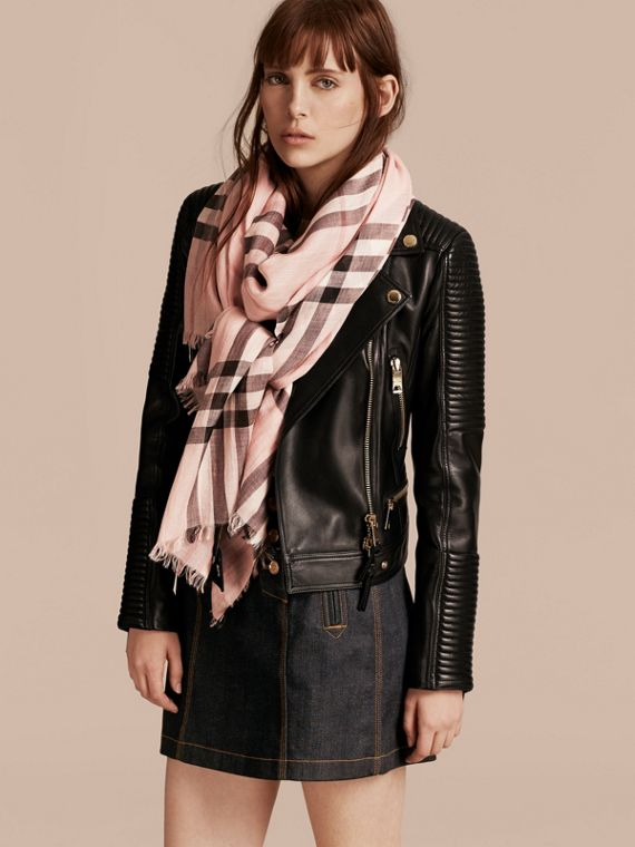 Lightweight Check Wool and Silk Scarf in Ash Rose - cell image 2