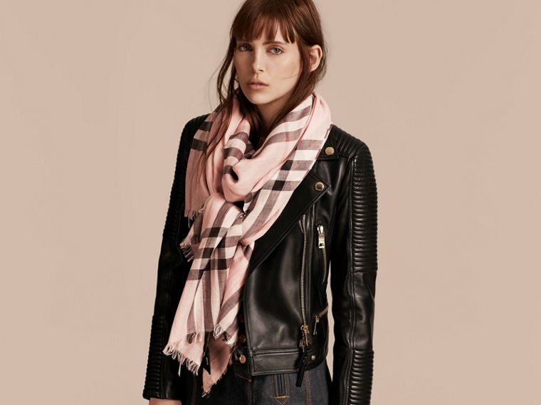 Lightweight Check Wool and Silk Scarf in Ash Rose - Women | Burberry - cell image 2