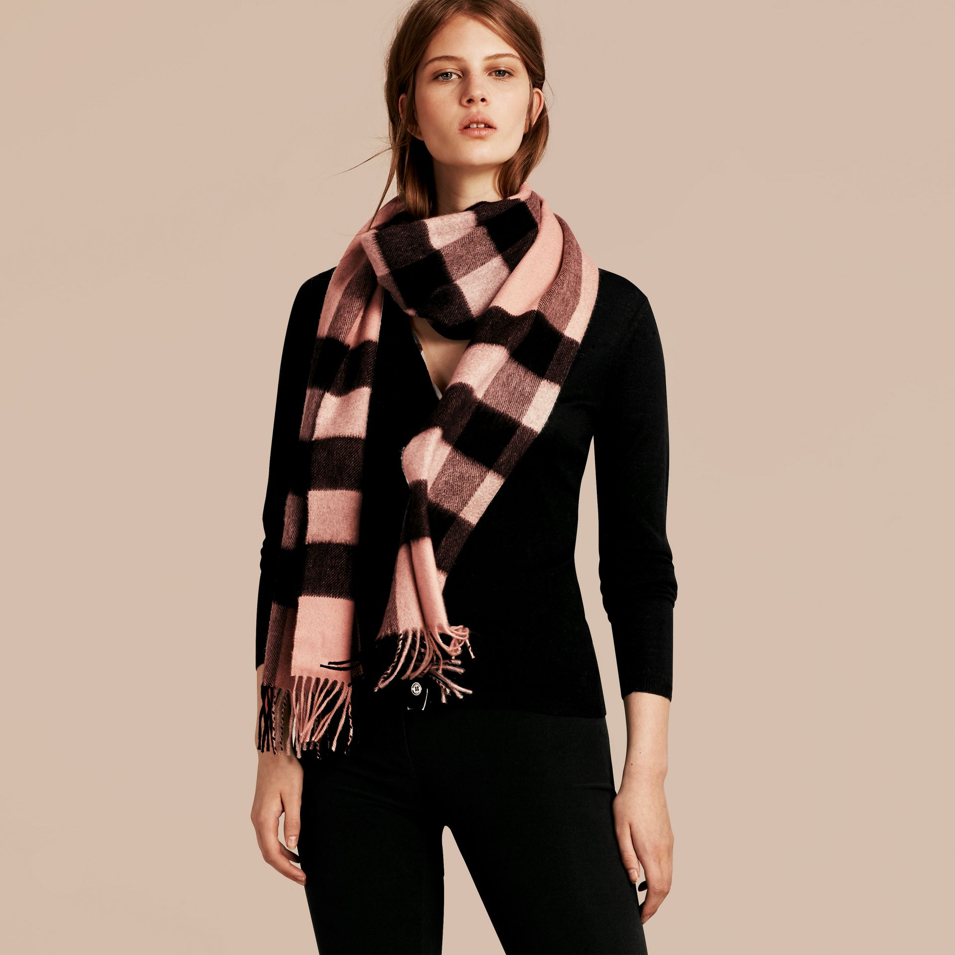 Ash rose The Large Classic Cashmere Scarf in Check Rose - gallery image 3