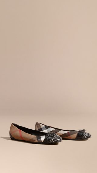 Stud and Buckle Detail House Check Ballerinas