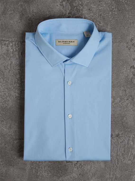 Slim Fit Stretch Cotton Poplin Shirt in City Blue - Men | Burberry - cell image 3