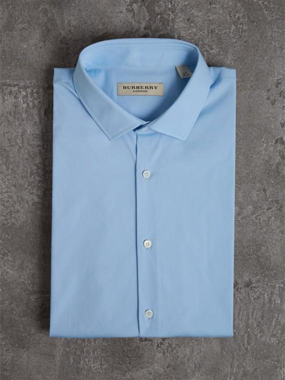슬림핏 스트레치 코튼 포플린 셔츠 (시티 블루) - 남성 | Burberry - cell image 3