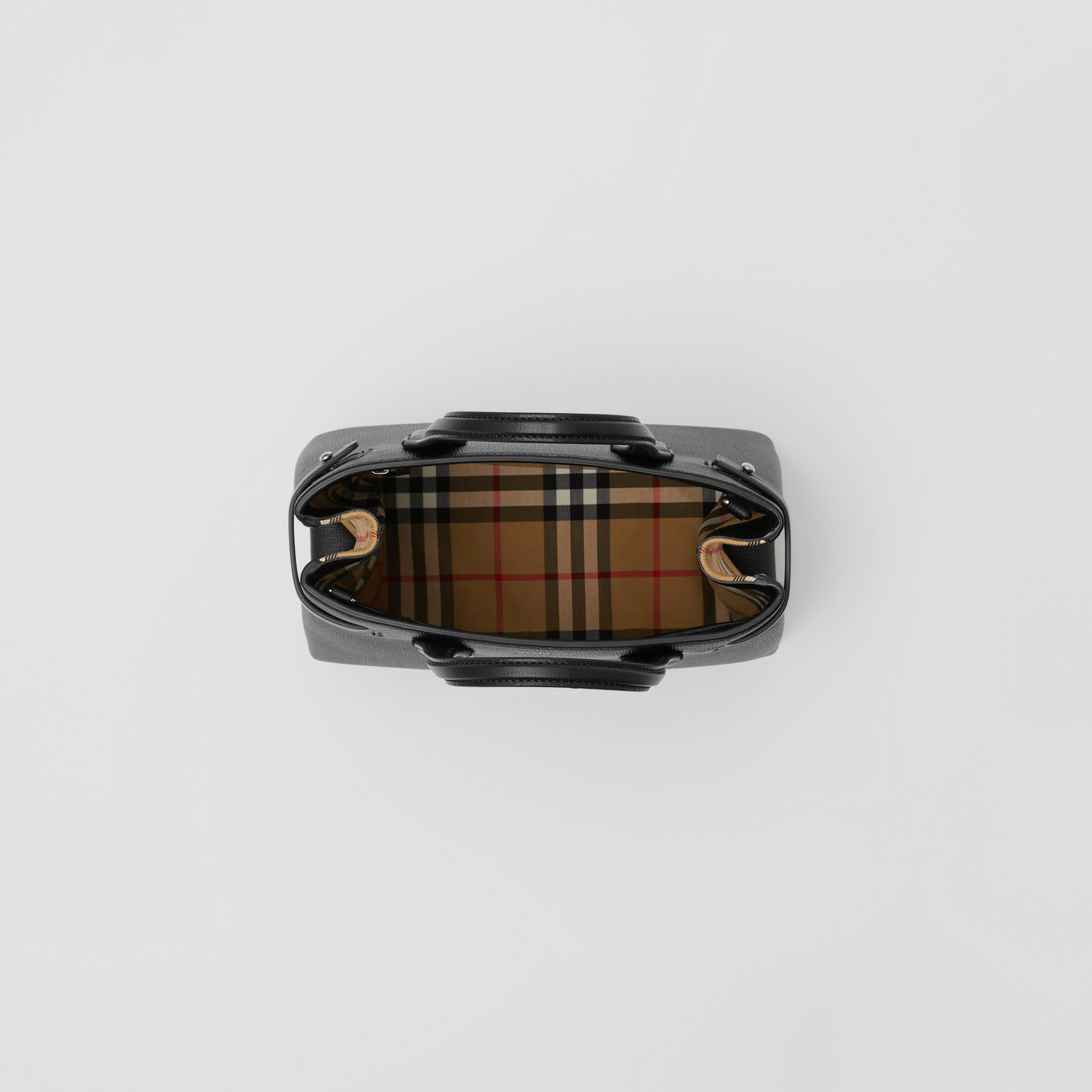 The Small Banner in Leather and Vintage Check in Black - Women | Burberry - gallery image 3