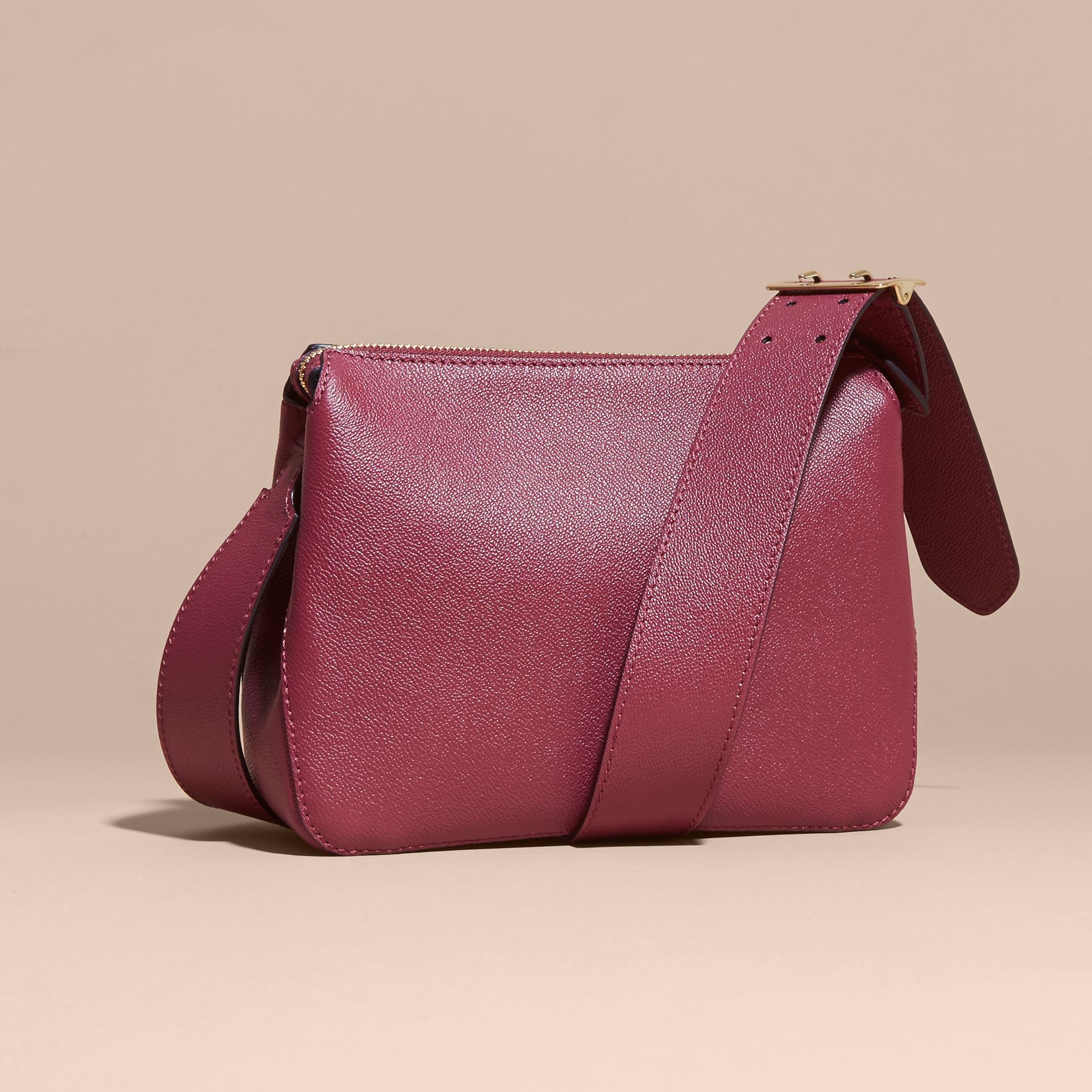 Buckle Detail Leather Crossbody Bag in Dark Plum - gallery image 3