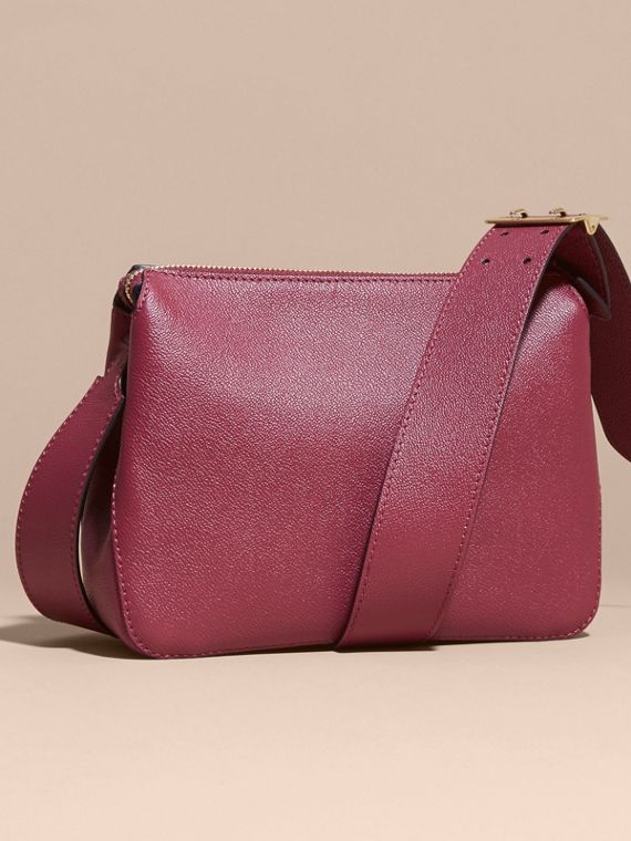 Buckle Detail Leather Crossbody Bag in Dark Plum - cell image 2