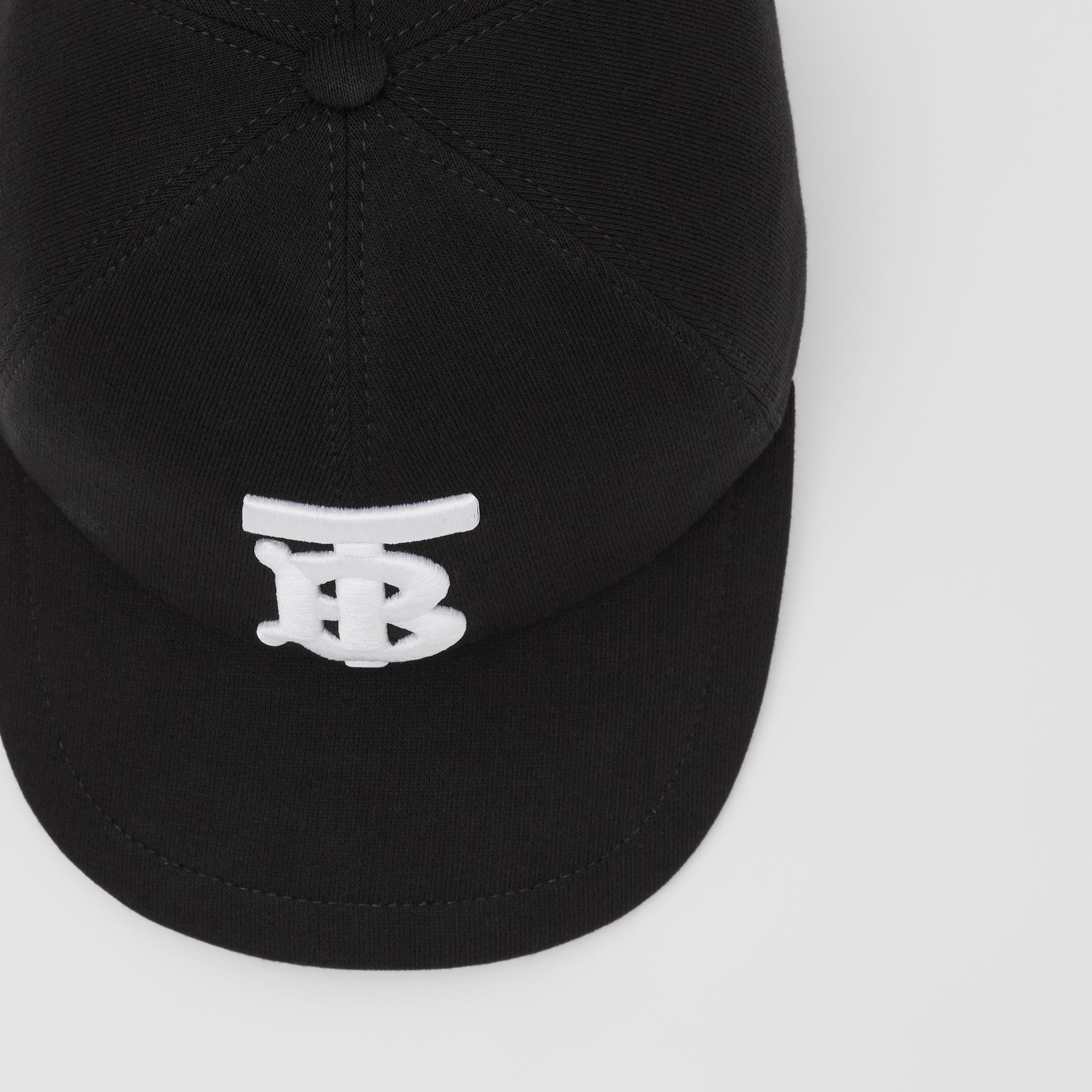 Monogram Motif Cotton Jersey Baseball Cap in Black | Burberry Hong Kong S.A.R - gallery image 1
