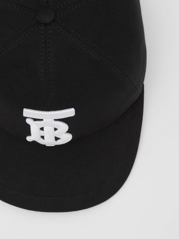 Monogram Motif Cotton Jersey Baseball Cap in Black | Burberry Hong Kong S.A.R - cell image 1