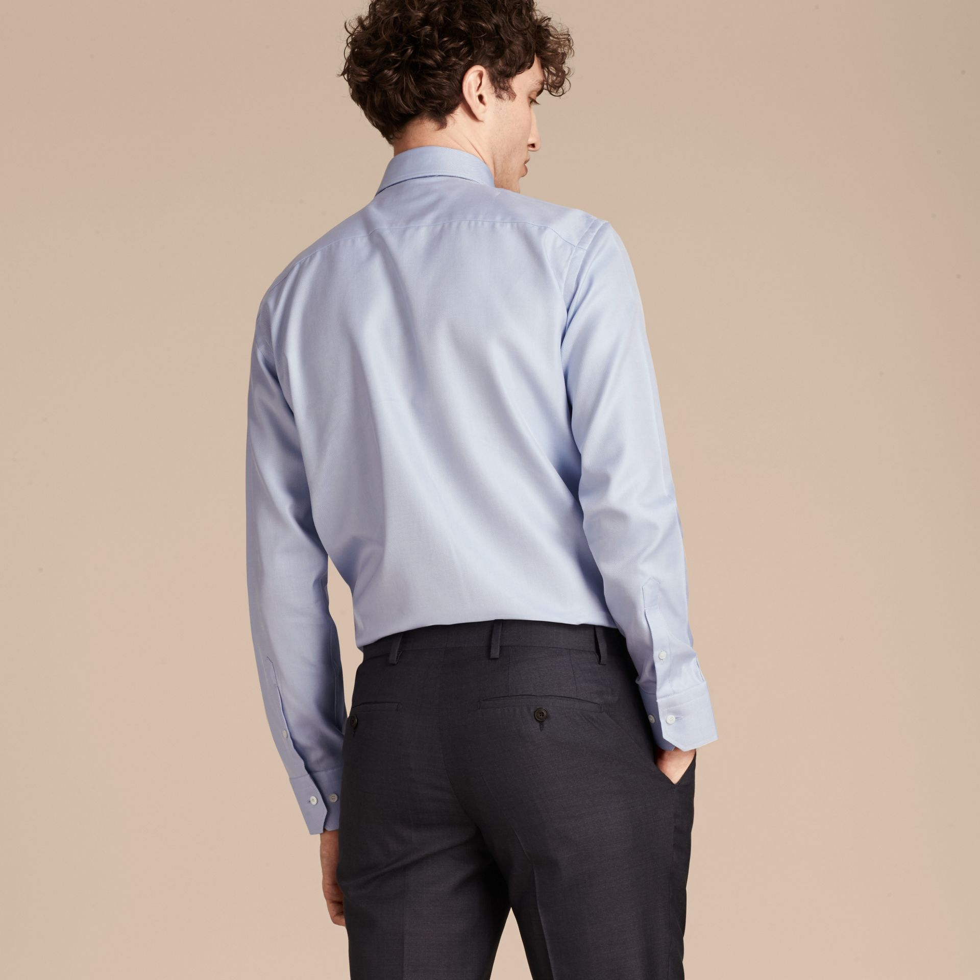 City blue Modern Fit Cotton Twill Shirt City Blue - gallery image 3