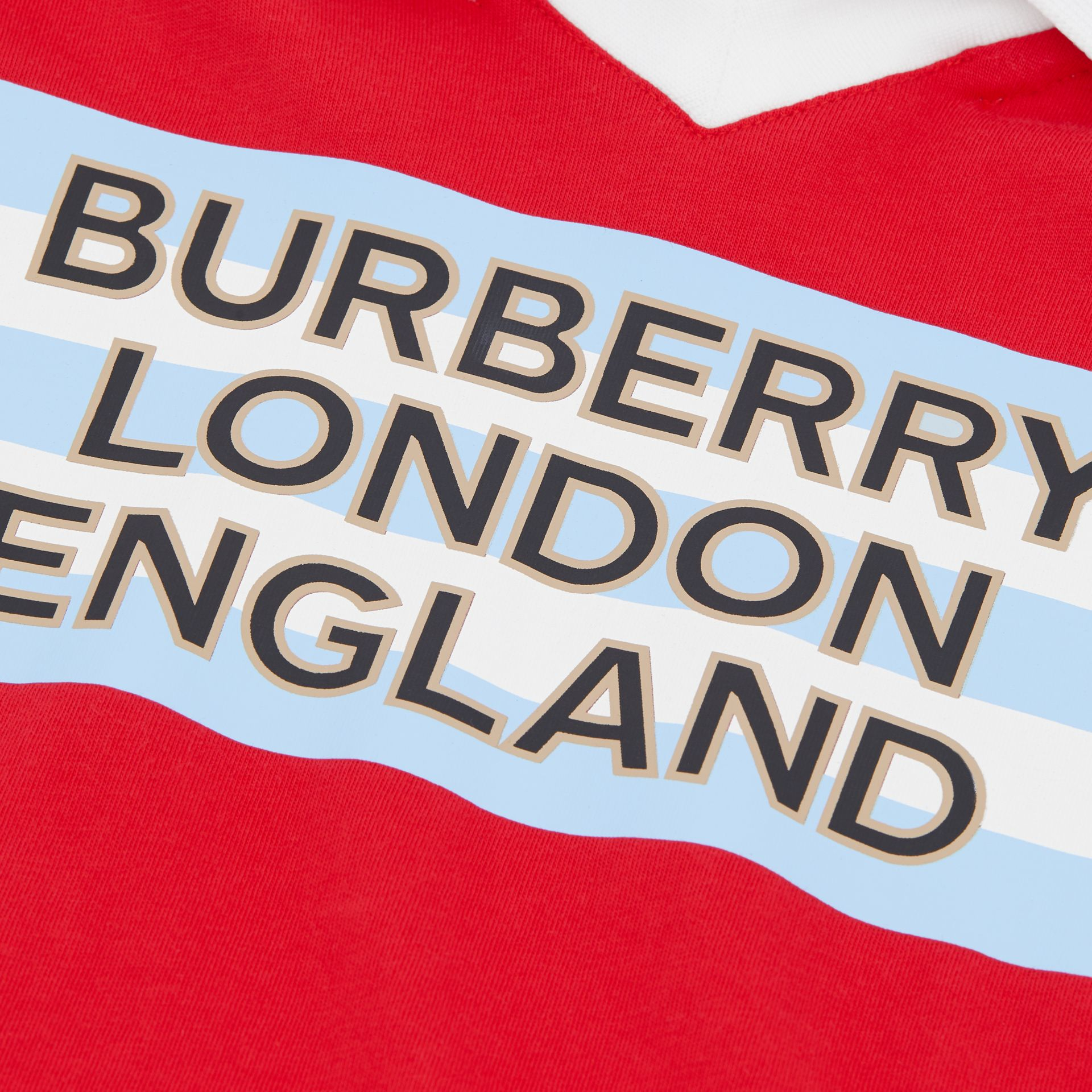 Logo Print Cotton Polo Shirt in Bright Red | Burberry - gallery image 1