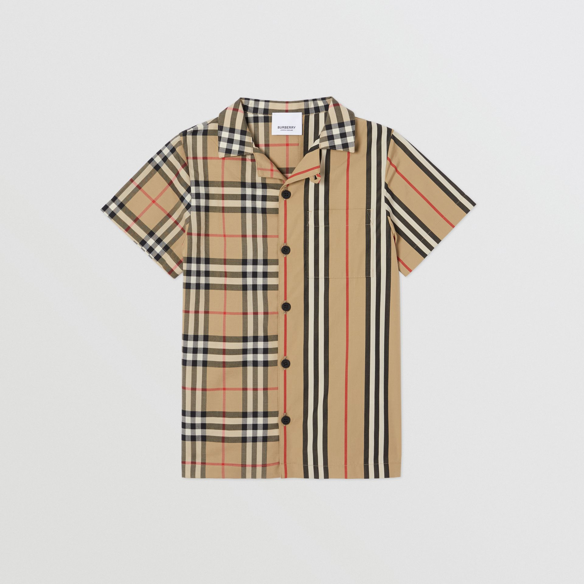 Short-sleeve Vintage Check and Icon Stripe Shirt in Archive Beige | Burberry Australia - gallery image 0