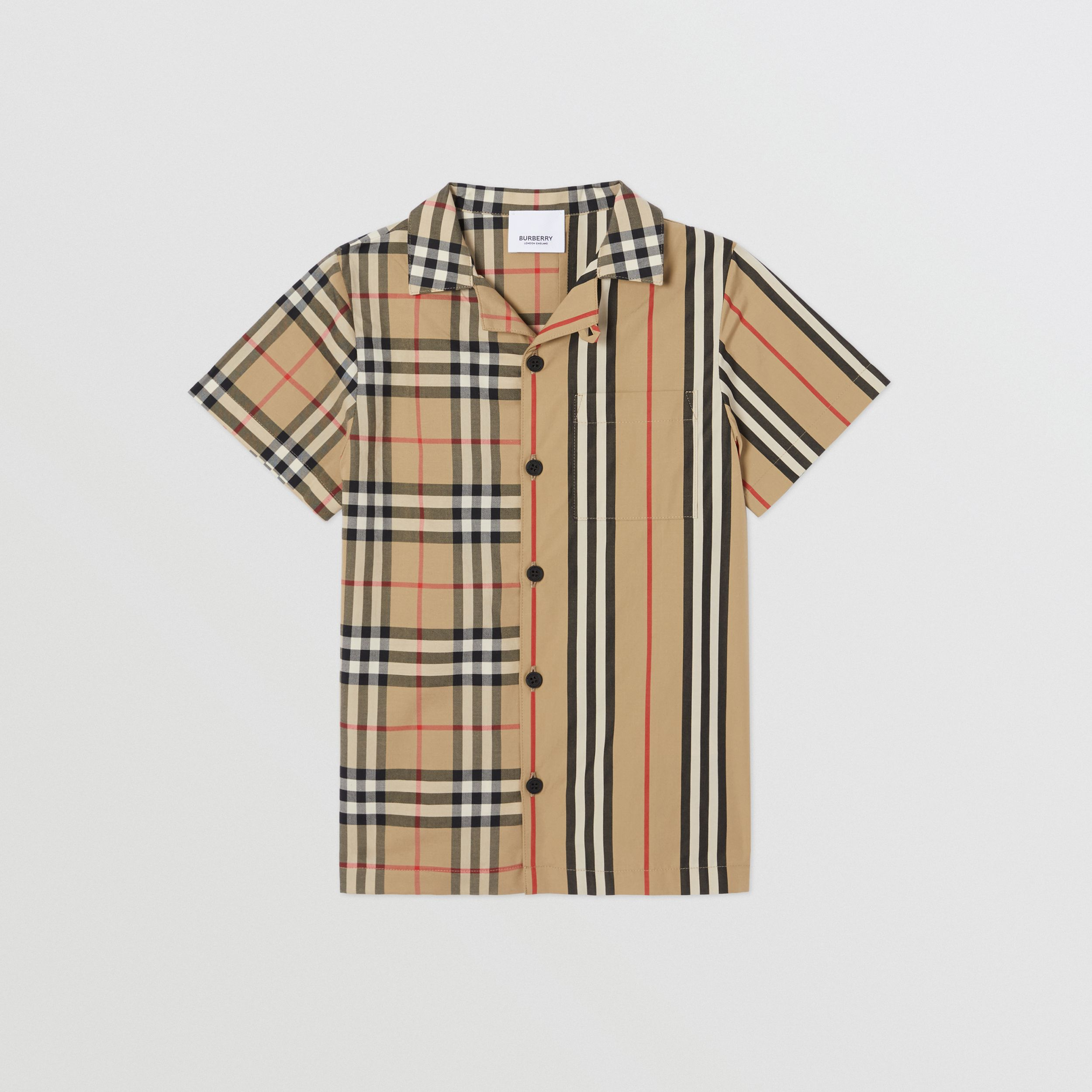 Short-sleeve Vintage Check and Icon Stripe Shirt in Archive Beige | Burberry - 1