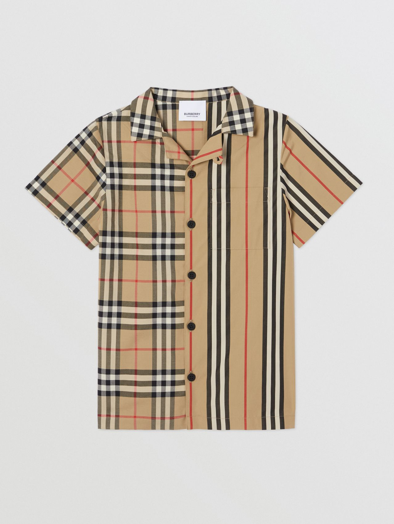 Short-sleeve Vintage Check and Icon Stripe Shirt in Archive Beige
