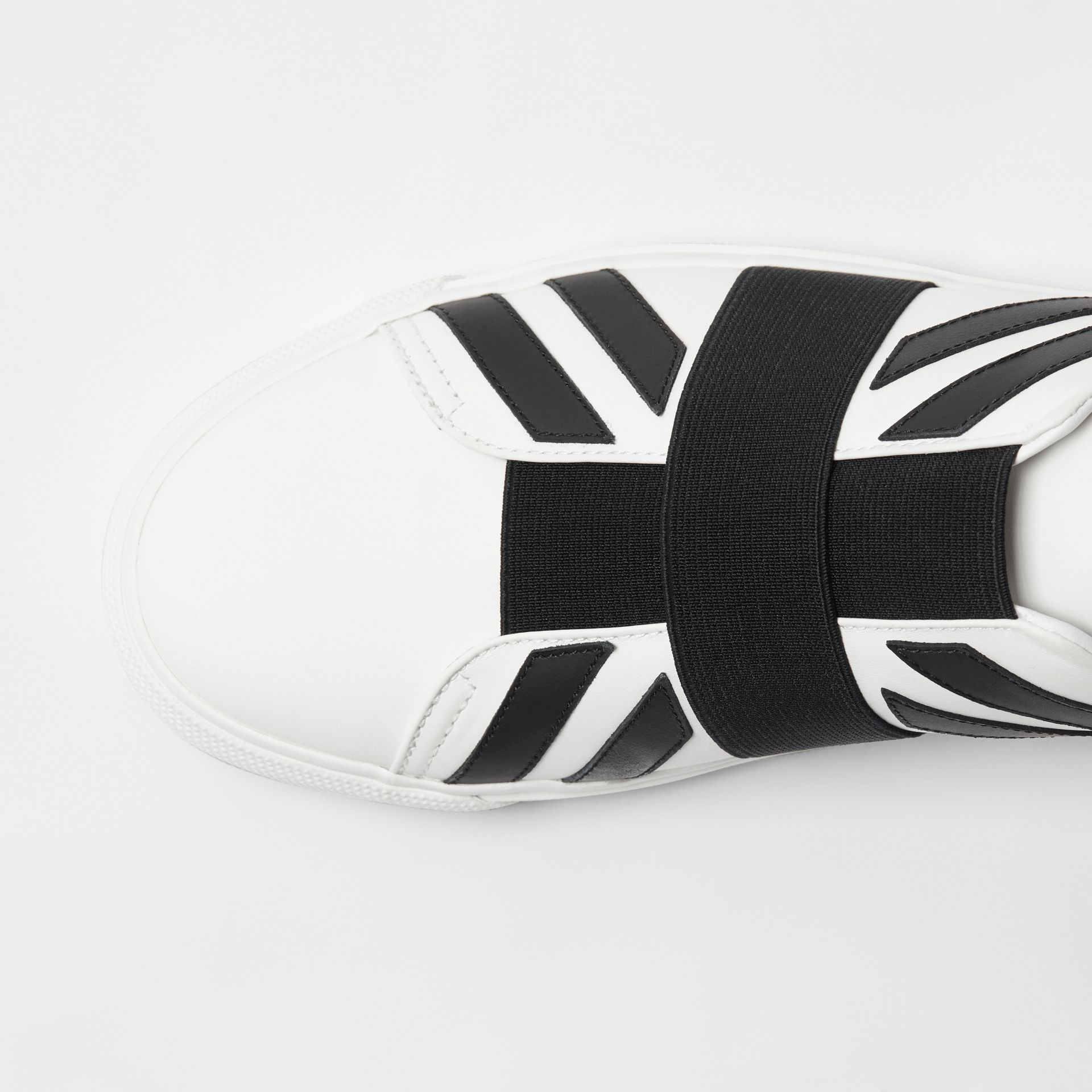 Union Jack Motif Slip-on Sneakers in White - Men | Burberry - gallery image 1