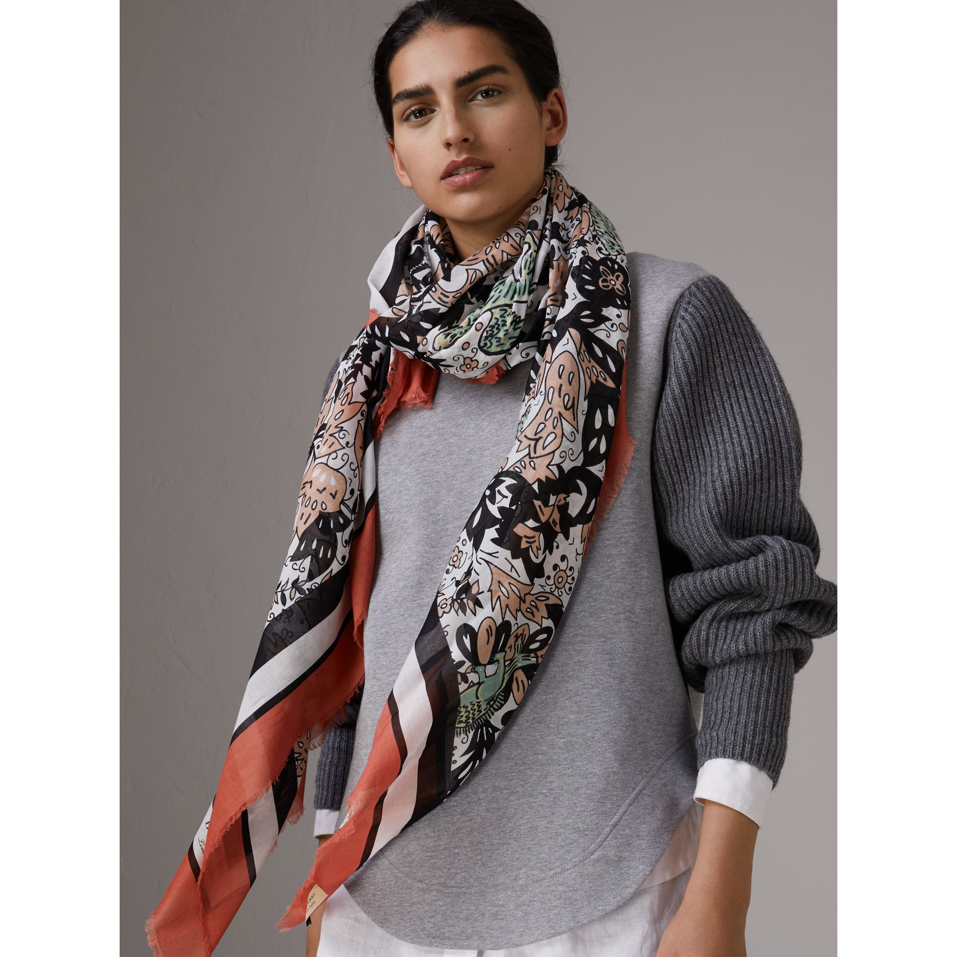 Beasts Print Lightweight Cotton Scarf in Antique Taupe Pink - Women | Burberry - gallery image 3