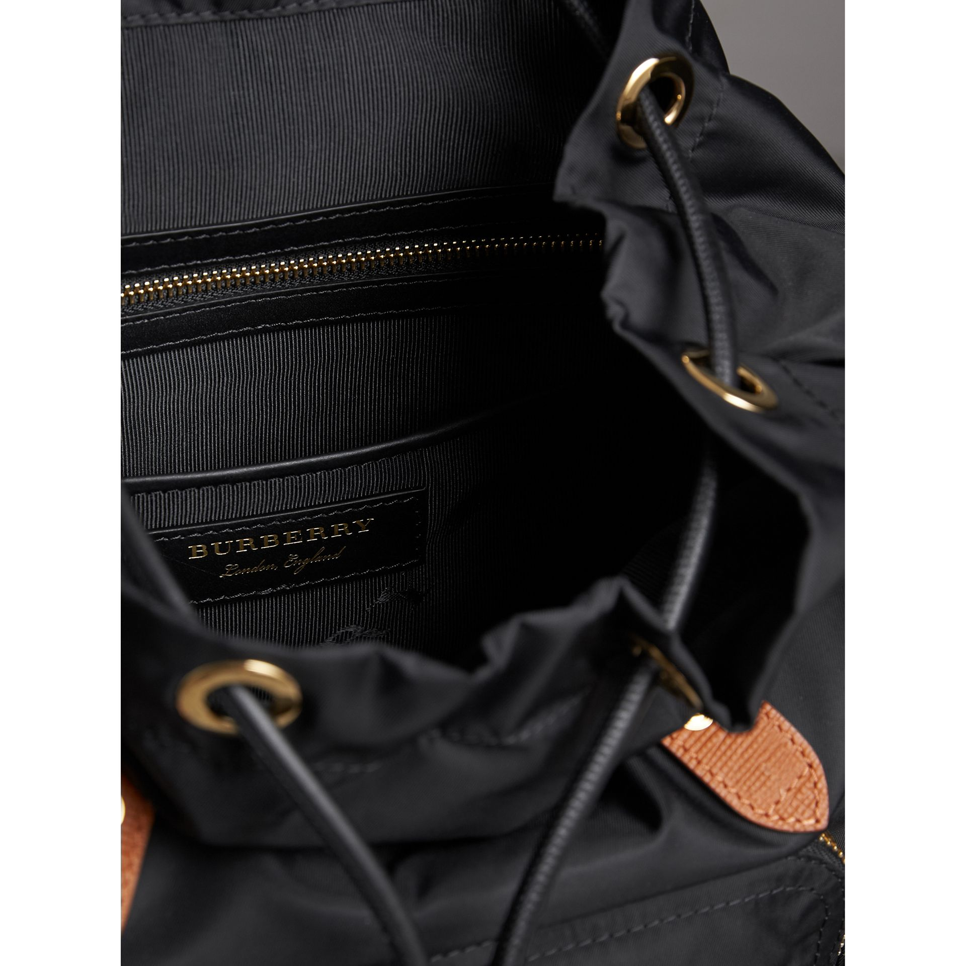 The Medium Rucksack in Technical Nylon and Leather in Black - Women | Burberry United Kingdom - gallery image 4