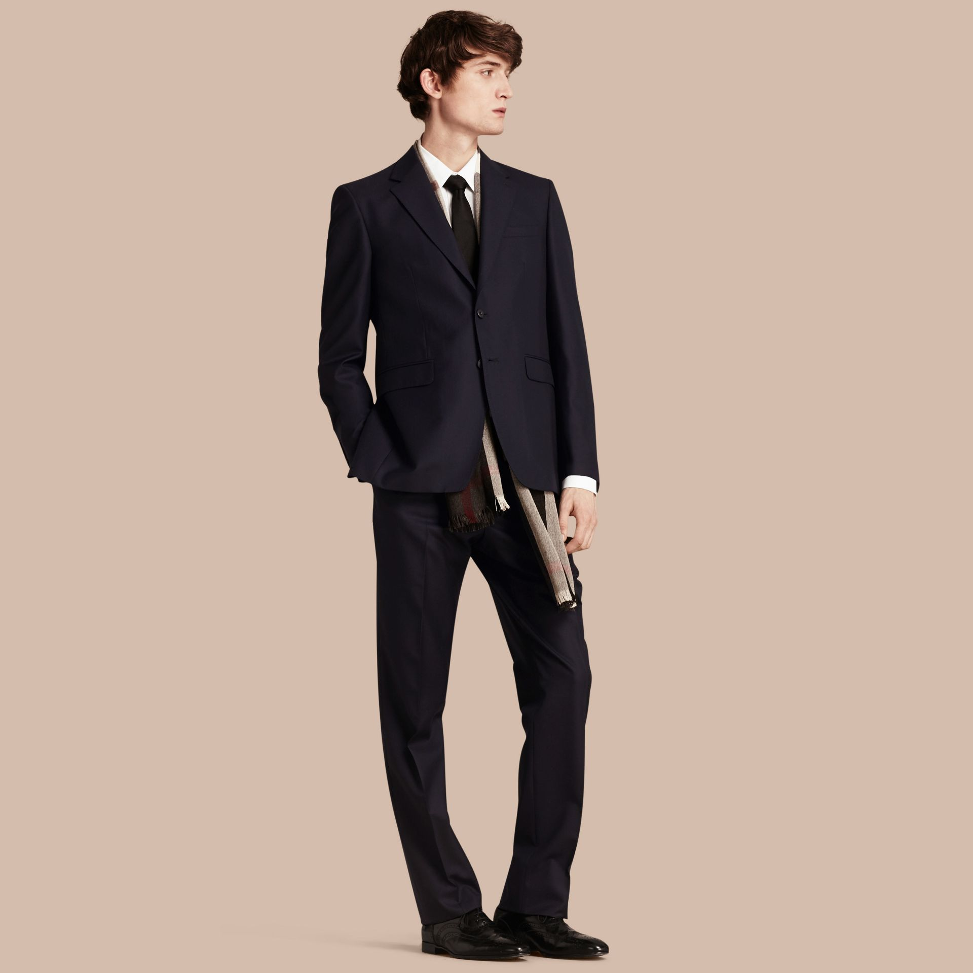 Classic Fit Wool Part-canvas Suit Navy - gallery image 1