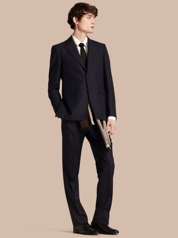 Classic Fit Wool Part-canvas Suit Navy