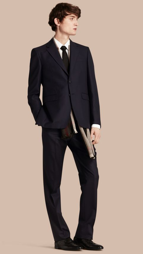 Navy Classic Fit Wool Part-canvas Suit Navy - Image 1