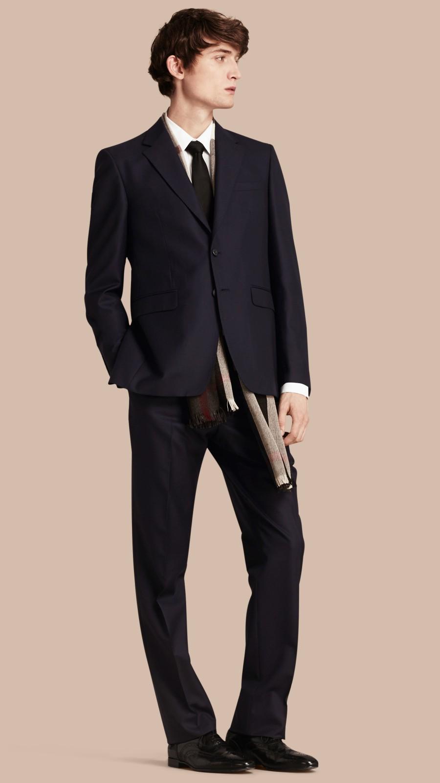 Navy Classic Fit Wool Part-canvas Suit Navy - Image 1