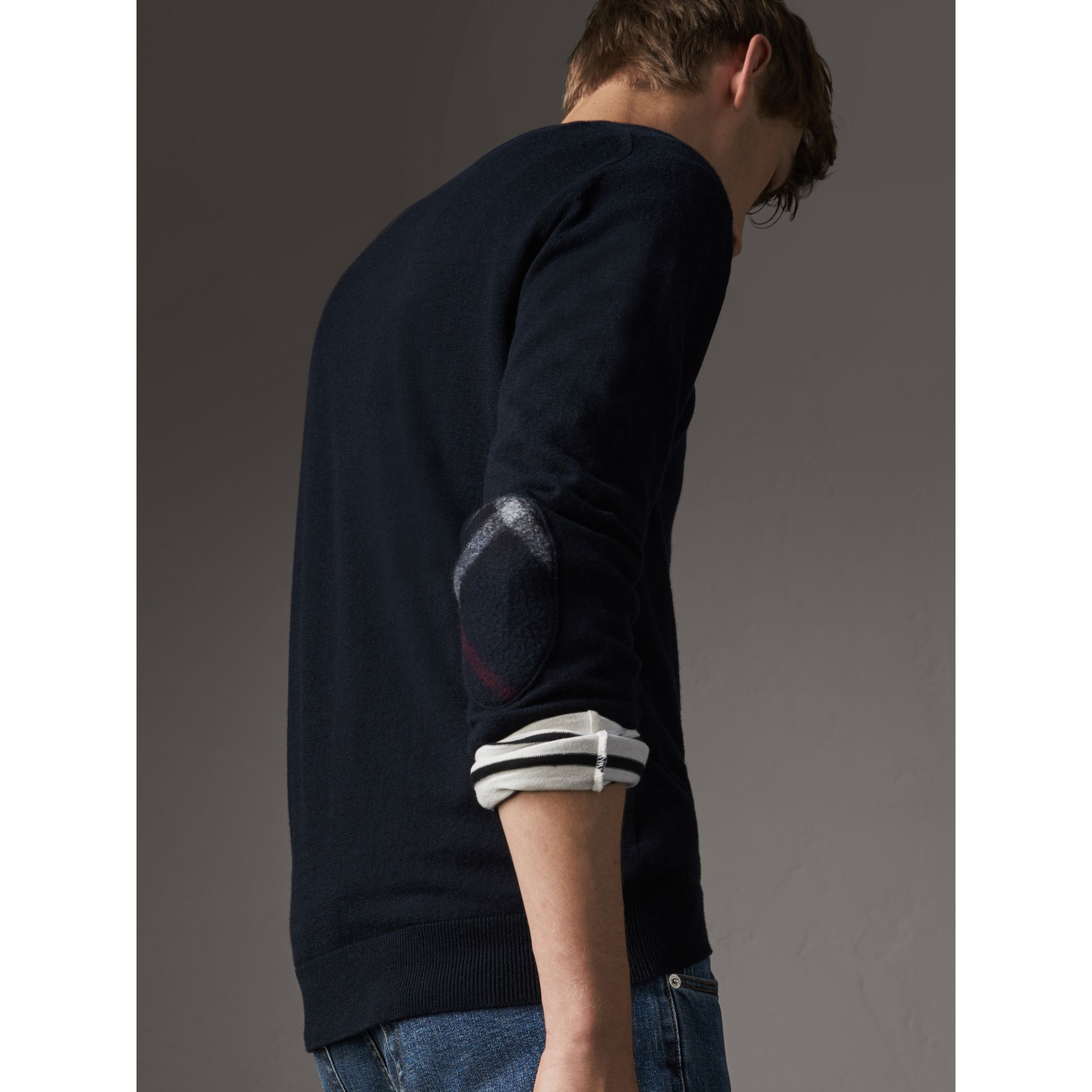 Check Trim Cashmere Cotton Sweater in Navy - Men | Burberry Canada - gallery image 1