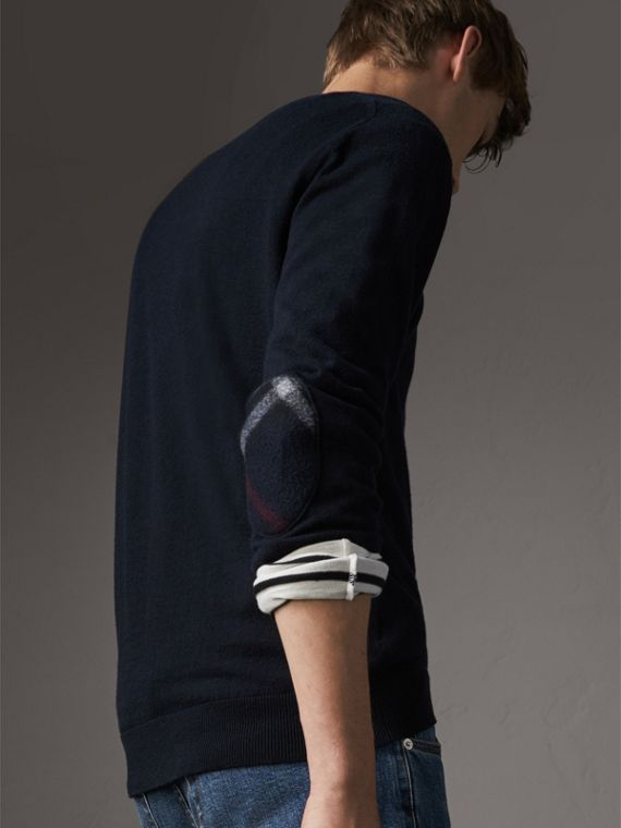 Check Trim Cashmere Cotton Sweater in Navy