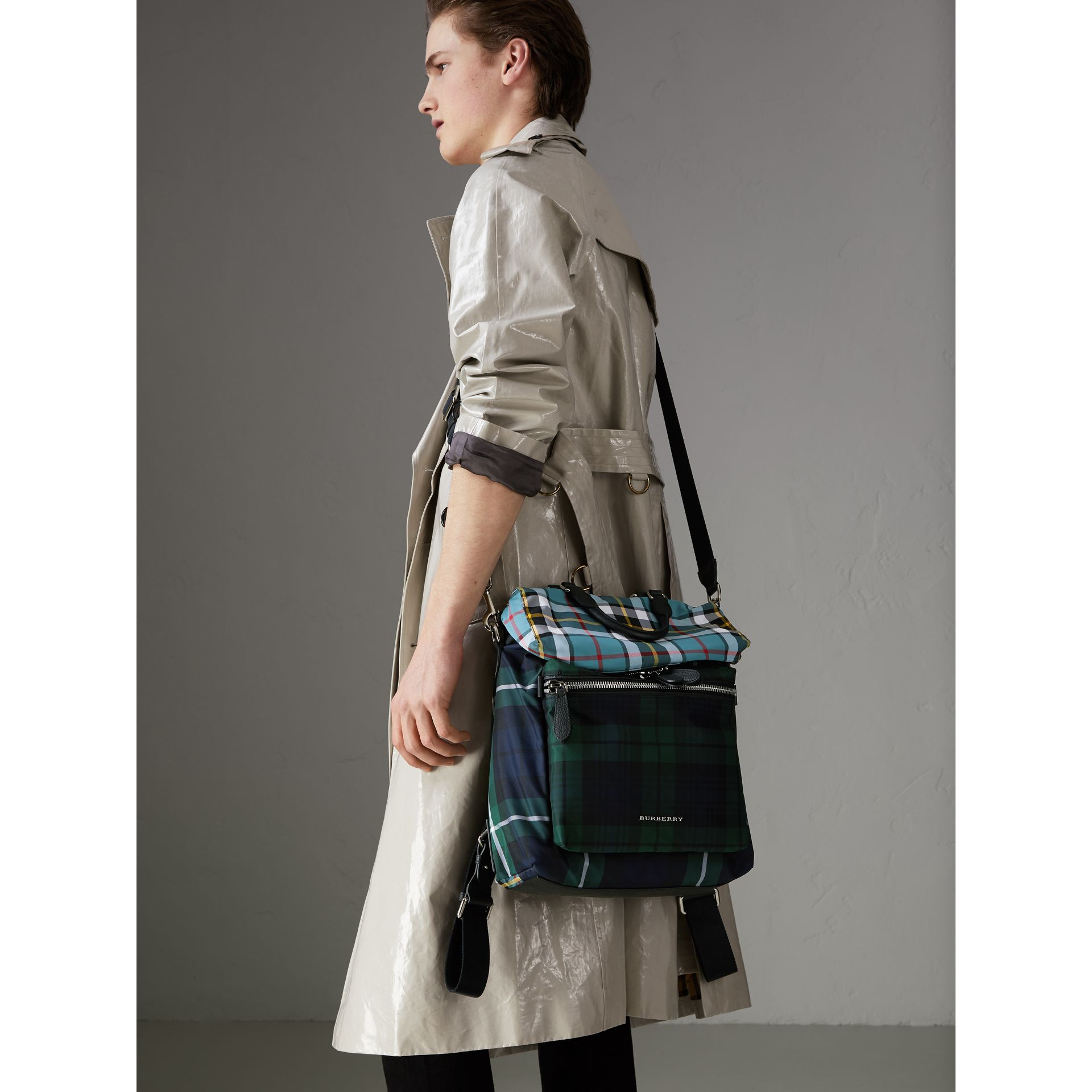 Zip-top Leather Trim Tartan Backpack in Forest Green - Men | Burberry - gallery image 4