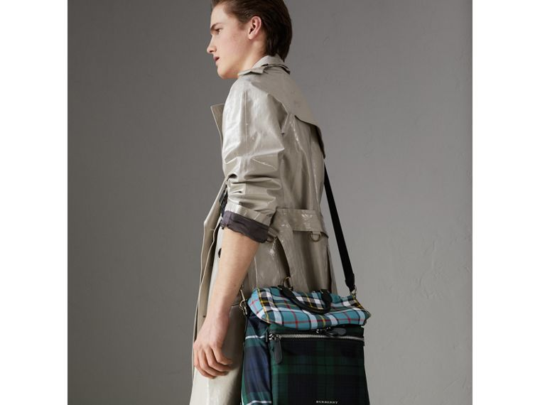 Zip-top Leather Trim Tartan Backpack in Forest Green - Men | Burberry - cell image 4