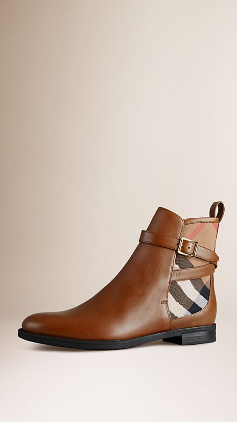 Chestnut House Check Leather Ankle Boots - Image 1