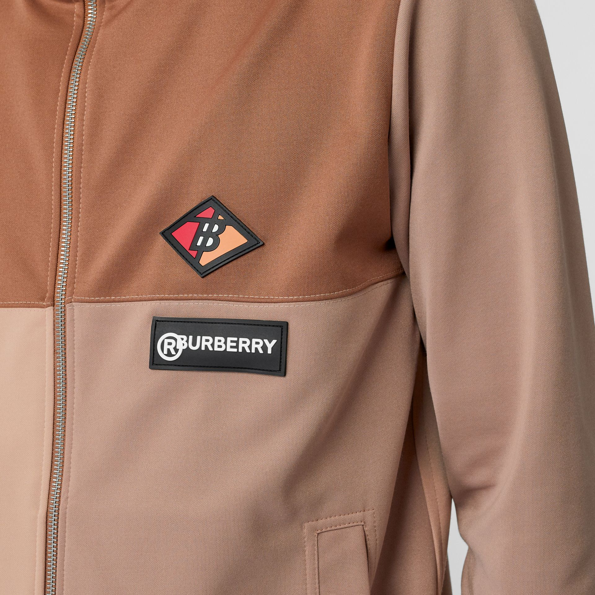 Logo Graphic Colour Block Neoprene Track Top in Camel - Men | Burberry - gallery image 4