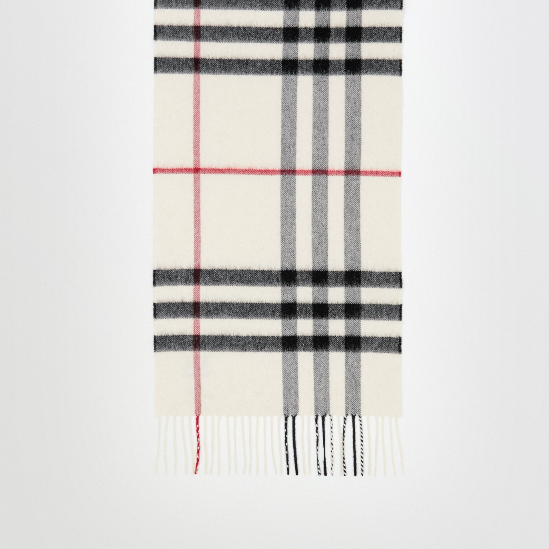The Classic Check Cashmere Scarf in White - Women | Burberry - gallery image 2
