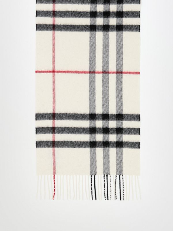 The Classic Check Cashmere Scarf in White - Women | Burberry - cell image 2