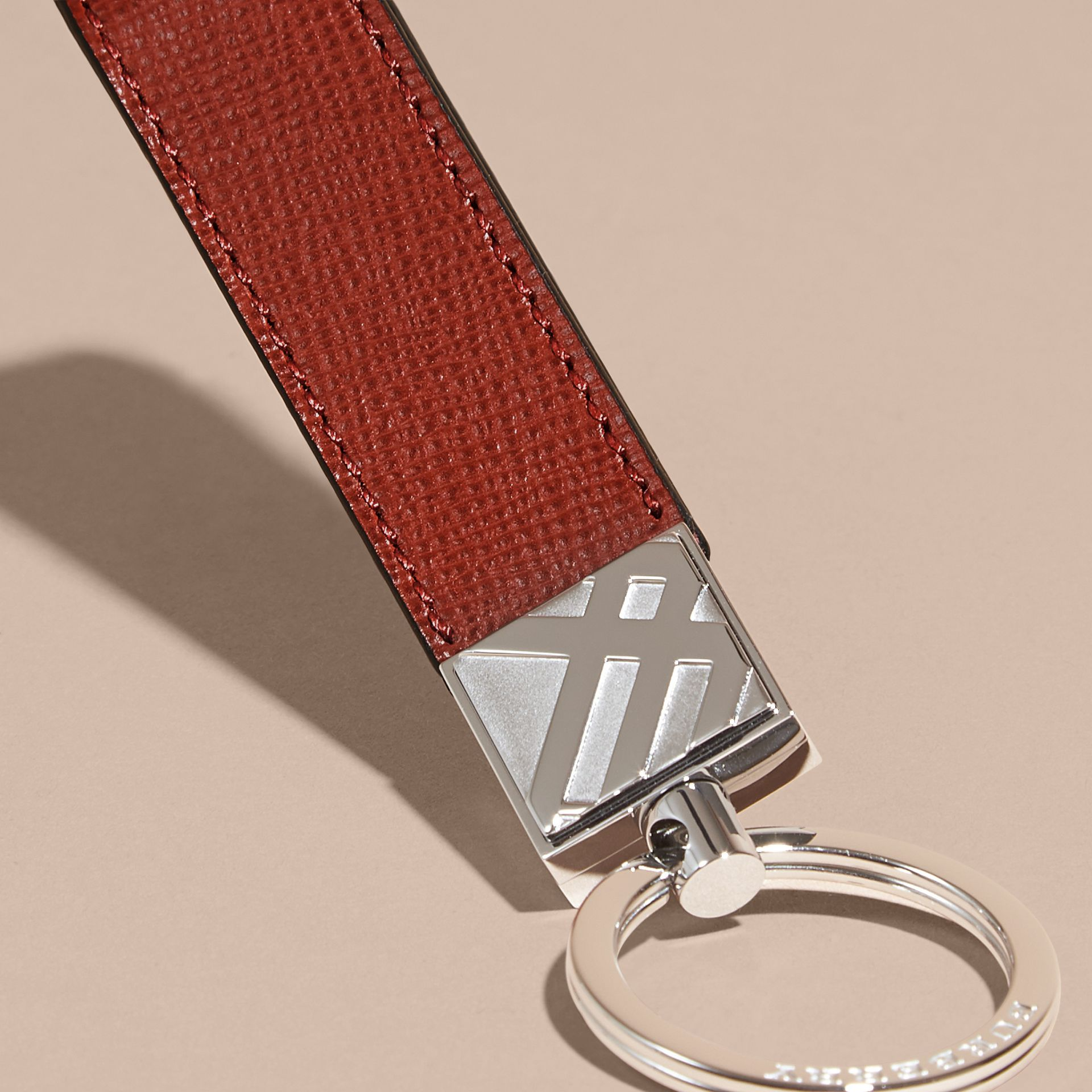 Dark military red London Leather Key Ring Dark Military Red - gallery image 2