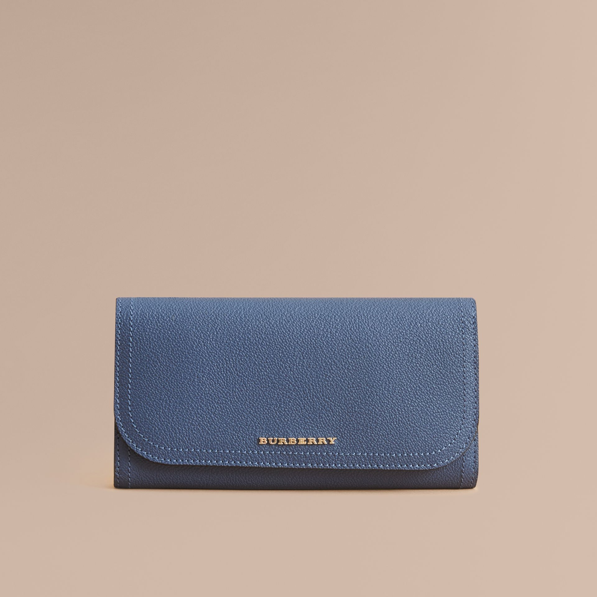 Two-tone Leather Continental Wallet and Coin Case in Steel Blue/multi - Women | Burberry United States - gallery image 3
