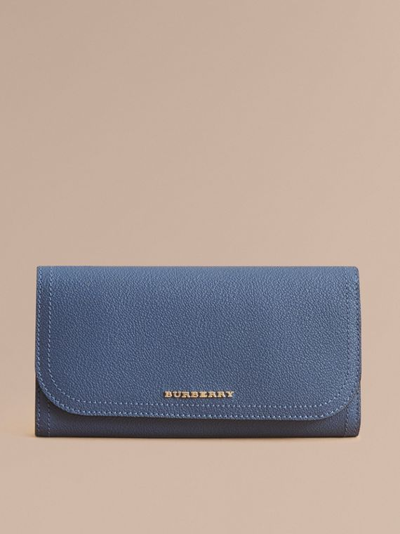 Two-tone Leather Continental Wallet and Coin Case in Steel Blue/multi - Women | Burberry - cell image 2