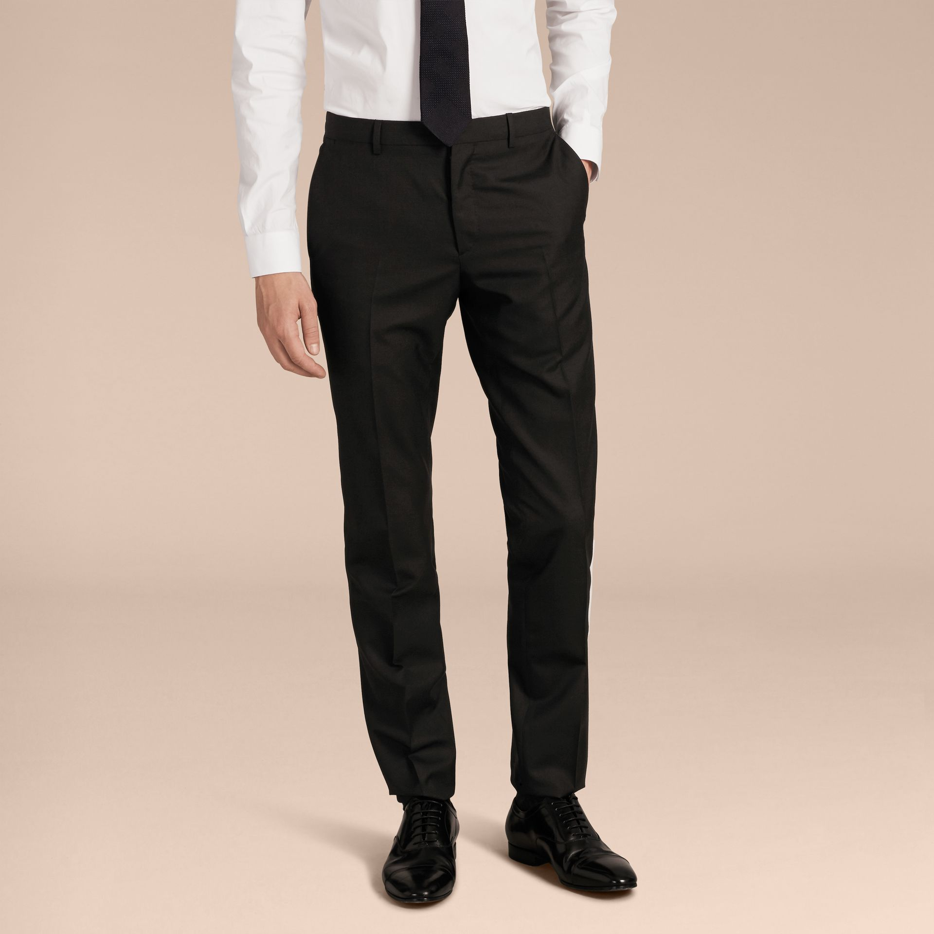 Slim Fit Wool Part-canvas Suit in Black - Men | Burberry Canada - gallery image 9