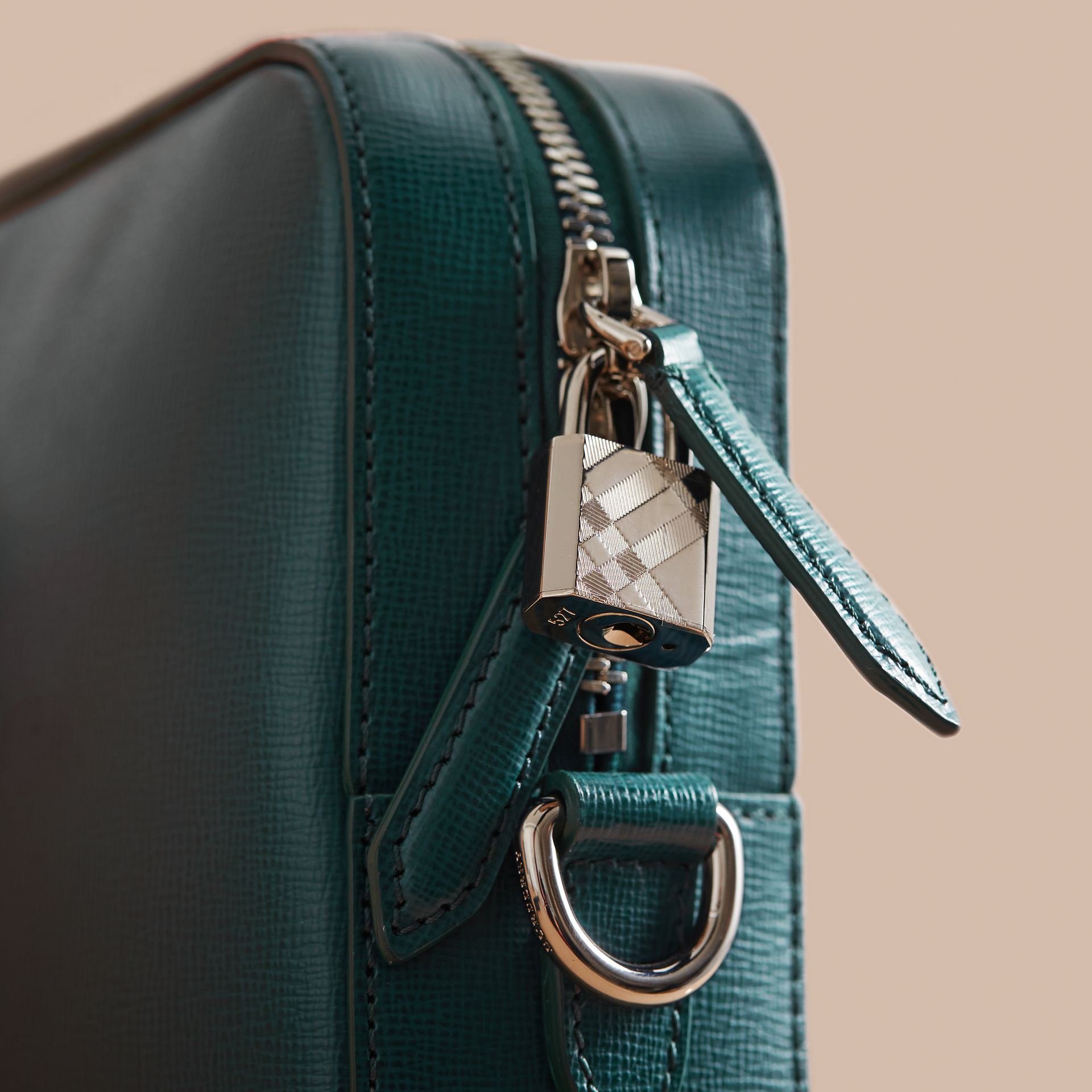 London Leather Briefcase in Dark Teal/black - Men | Burberry - gallery image 2