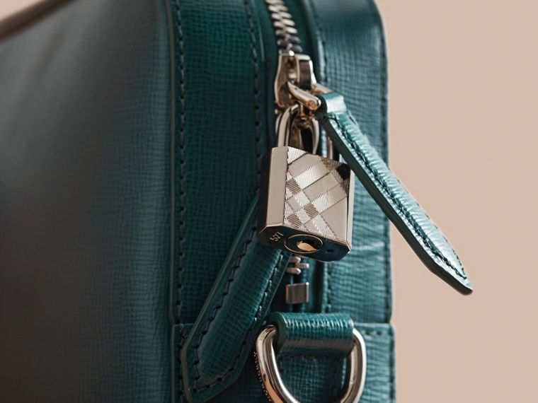 London Leather Briefcase in Dark Teal/black - Men | Burberry - cell image 1