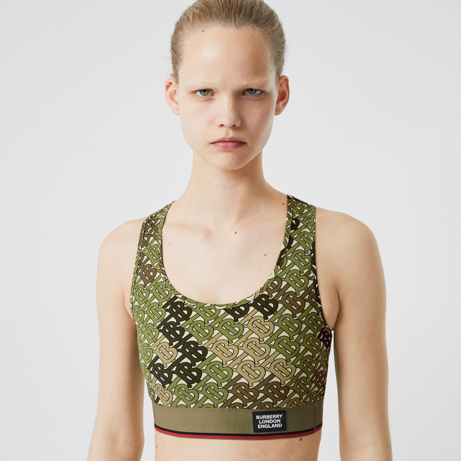 Monogram Print Stretch Jersey Bra Top in Khaki Green - Women | Burberry - gallery image 1