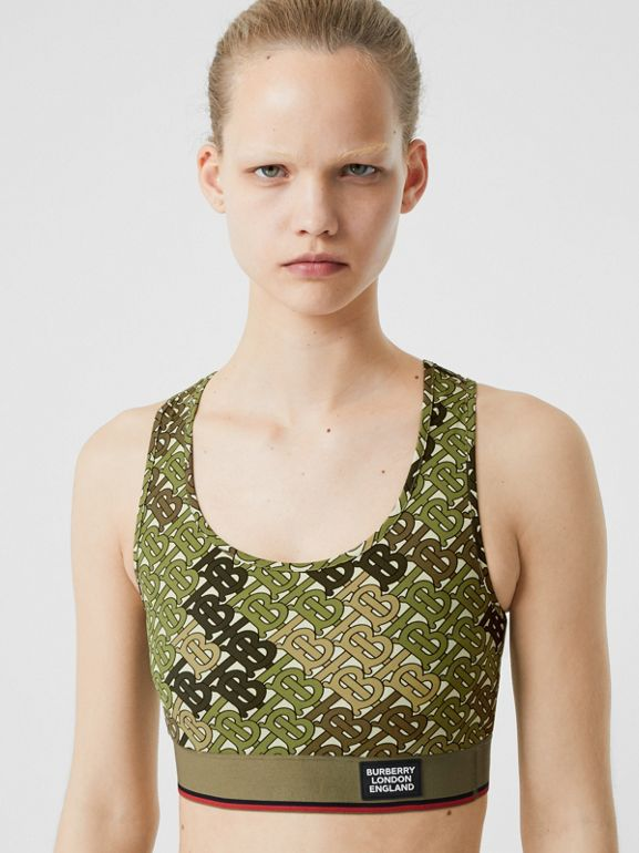 Monogram Print Stretch Jersey Bra Top in Khaki Green - Women | Burberry United Kingdom - cell image 1