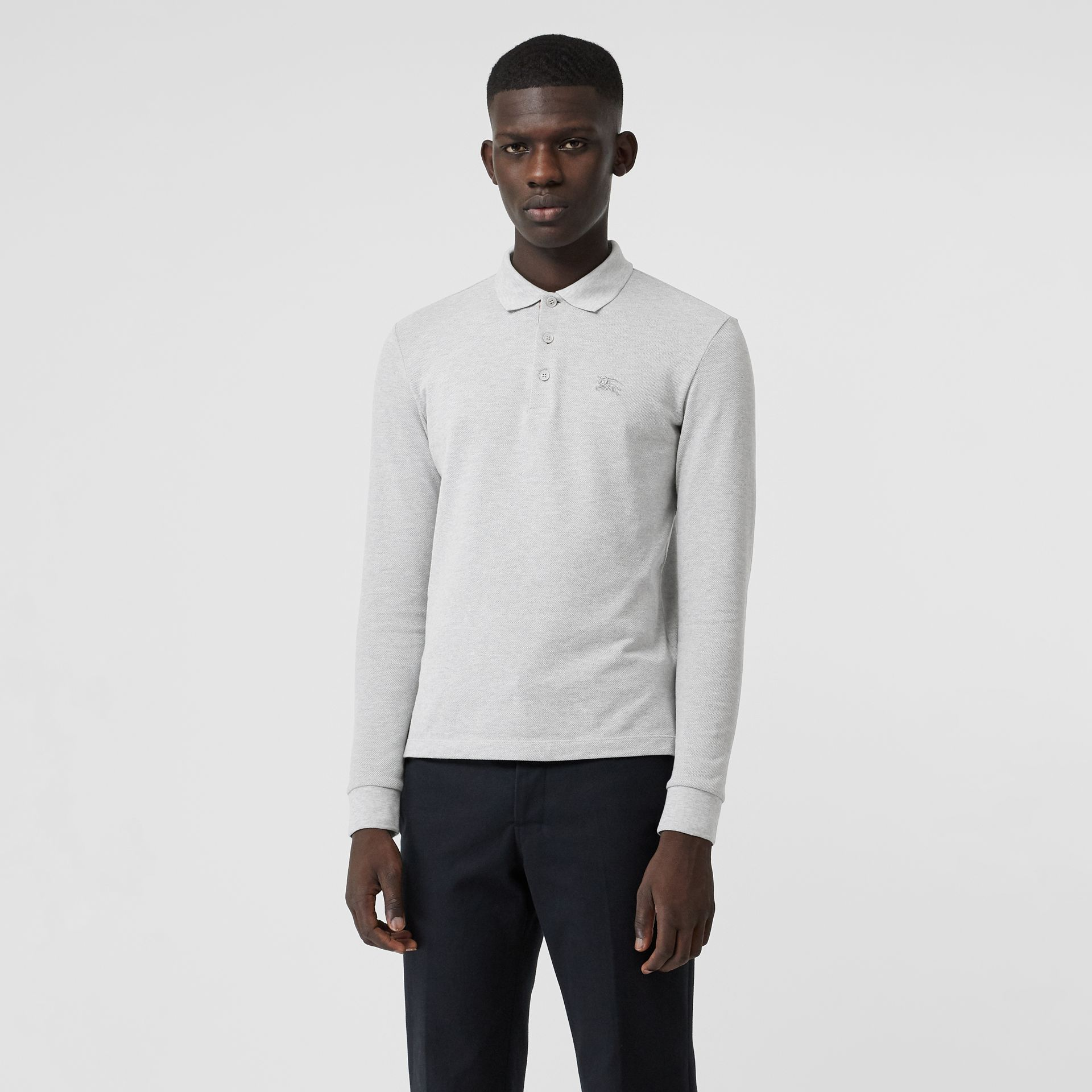 Long-sleeve Cotton Piqué Polo Shirt in Pale Grey Melange - Men | Burberry Australia - gallery image 0