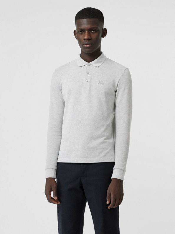 Long-sleeve Cotton Piqué Polo Shirt in Pale Grey Melange