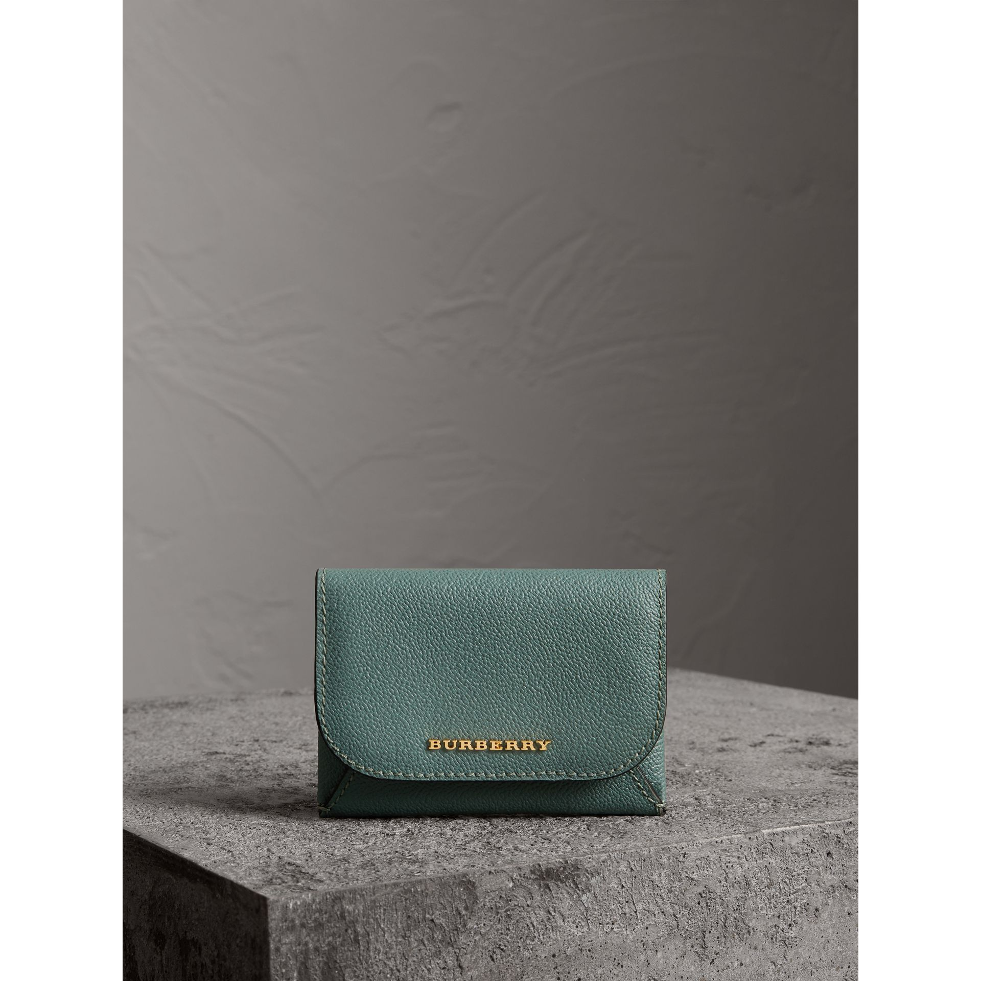 Leather Coin Case with Removable Card Compartment in Eucalyptus Green/multi - Women | Burberry - gallery image 5