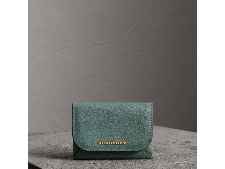 Leather Coin Case with Removable Card Compartment in Eucalyptus Green/multi - Women | Burberry - cell image 4
