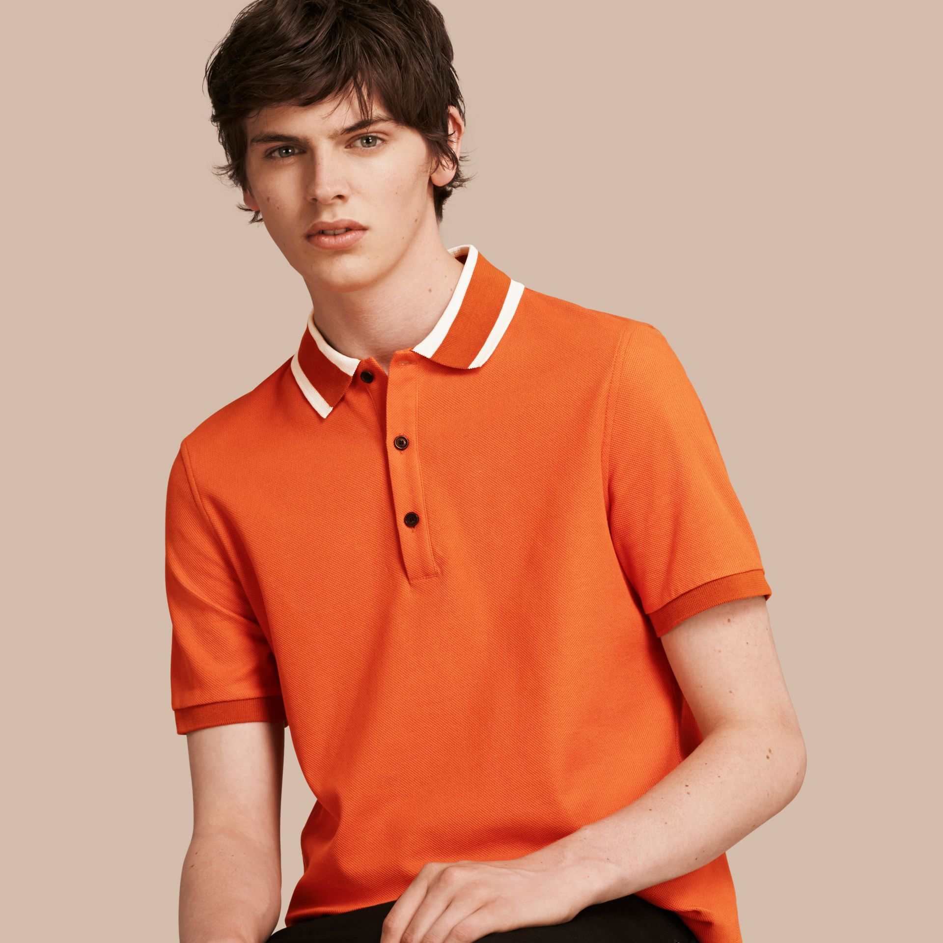 Striped Collar Cotton Piqué Polo Shirt Clementine - gallery image 1
