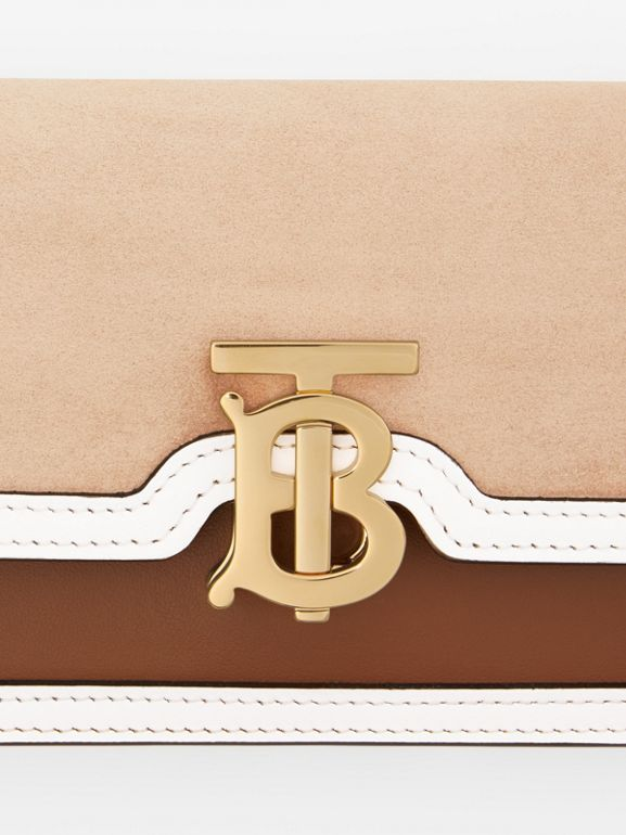 Mini Suede and Two-tone Leather Shoulder Bag in Biscuit - Women | Burberry United Kingdom - cell image 1