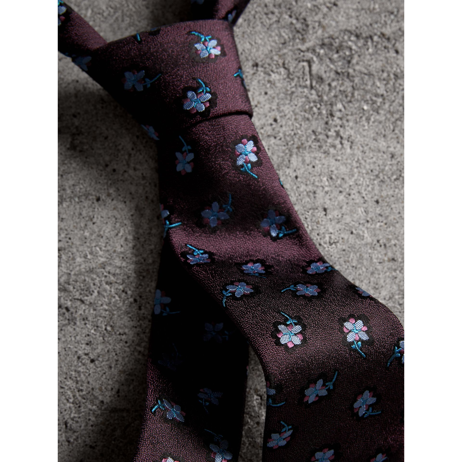 Slim Cut Floral Silk Brocade Tie in Purple Grape - Men | Burberry - gallery image 1