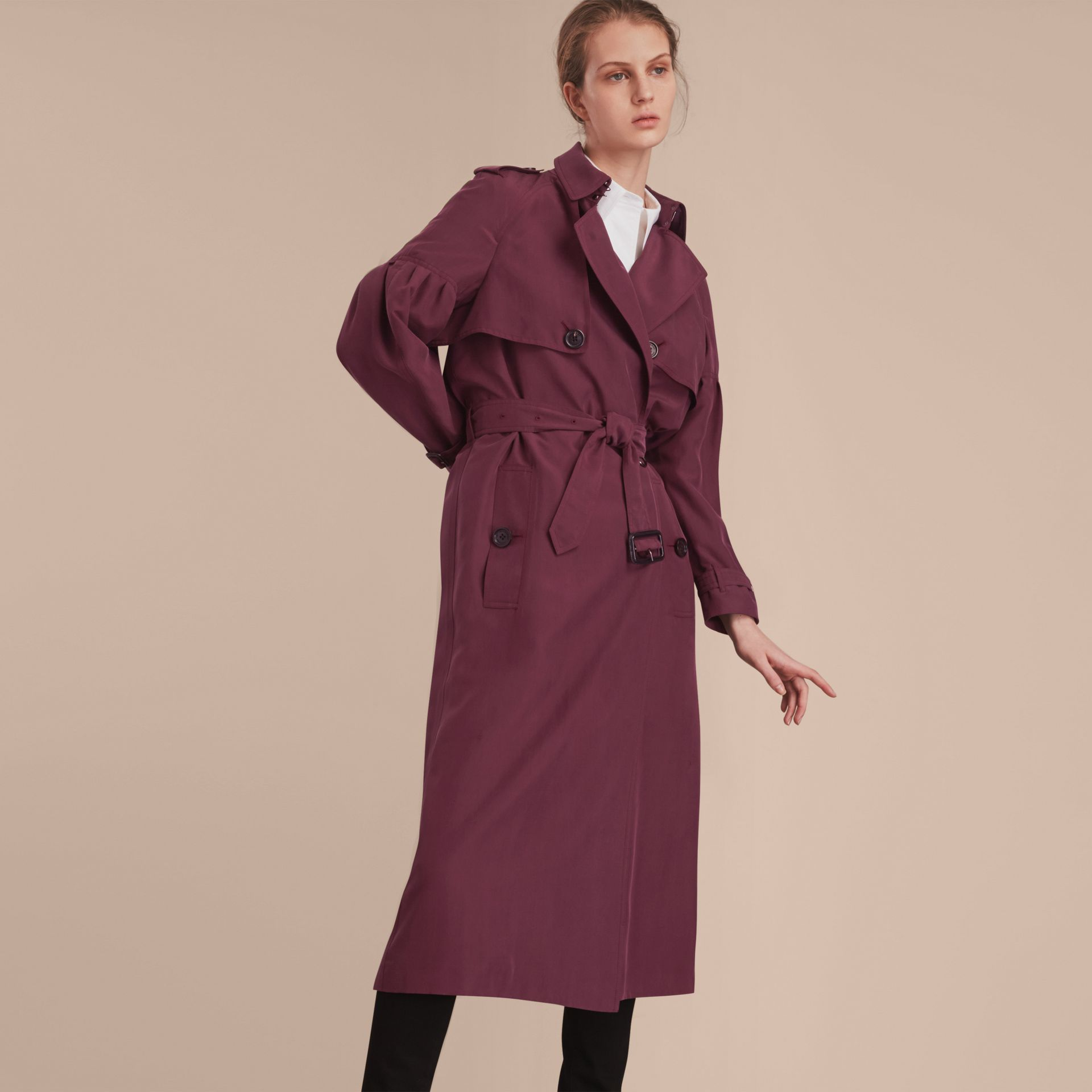 Oversize Silk Trench Coat with Puff Sleeves in Burgundy - Women | Burberry - gallery image 6