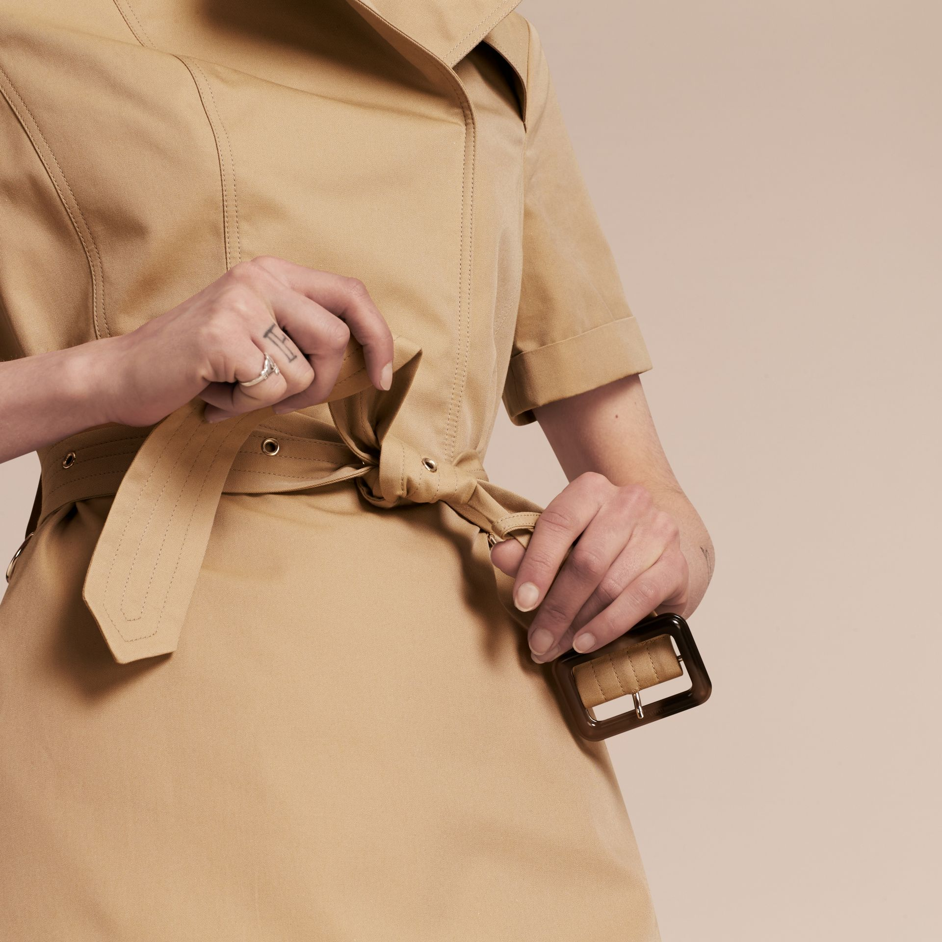 Honey Short-sleeved Cotton Gabardine Trench Dress Honey - gallery image 5