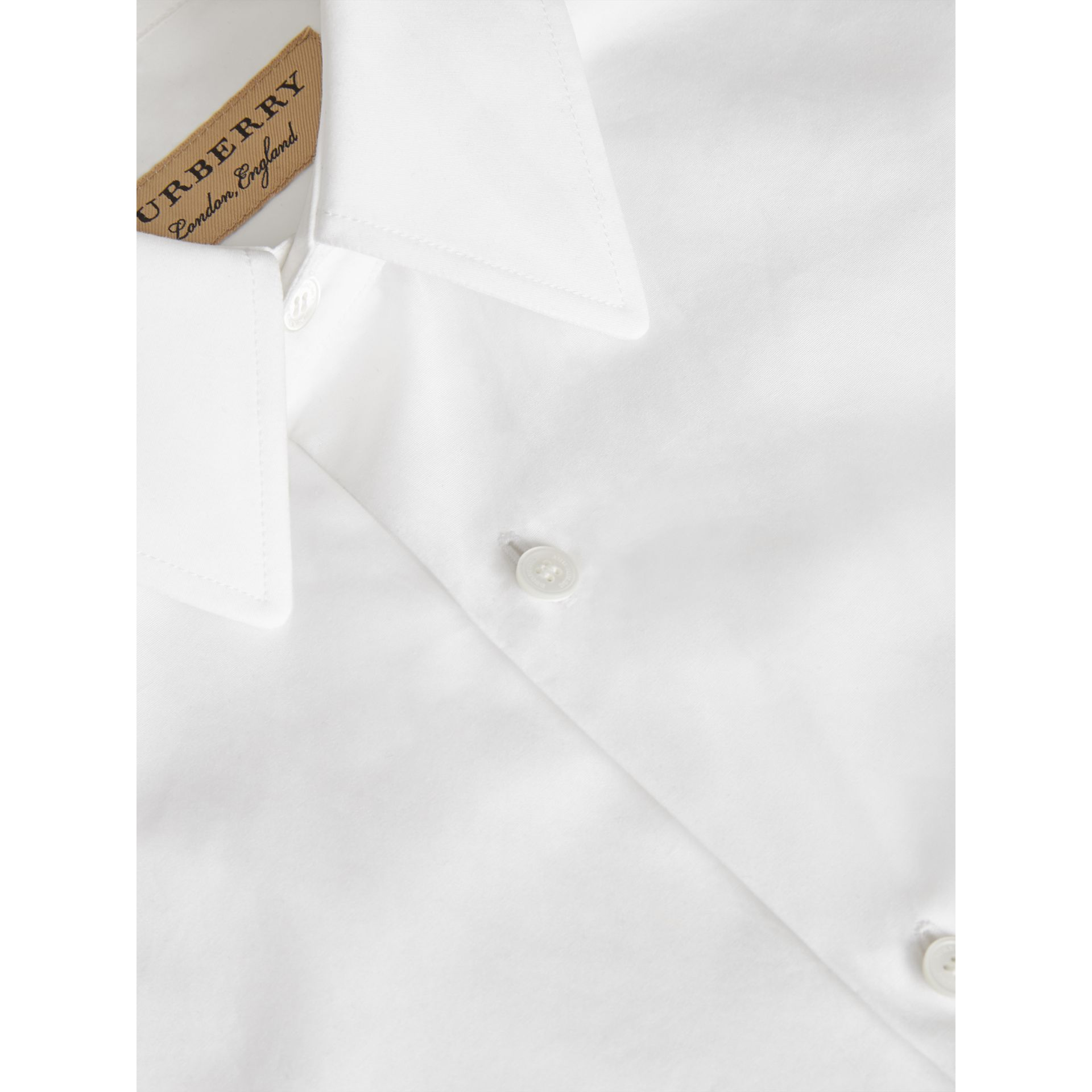Slim Fit Cotton Poplin Shirt in White - Men | Burberry - gallery image 5